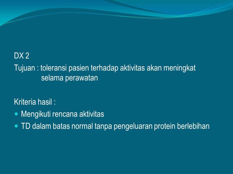 DX 2 Tujuan : toleransi pasien terhadap aktivitas akan meningkat selama perawatan Kriteria hasil : Mengikuti rencana aktivitas TD dalam batas normal t