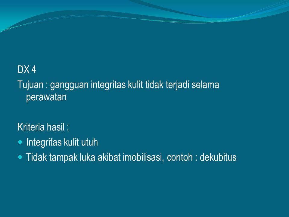 DX 4 Tujuan : gangguan integritas kulit tidak terjadi selama perawatan Kriteria hasil : Integritas kulit utuh Tidak tampak luka akibat imobilisasi, co