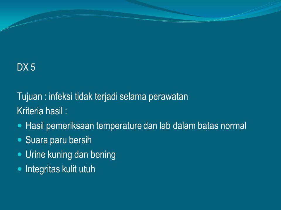 DX 5 Tujuan : infeksi tidak terjadi selama perawatan Kriteria hasil : Hasil pemeriksaan temperature dan lab dalam batas normal Suara paru bersih Urine