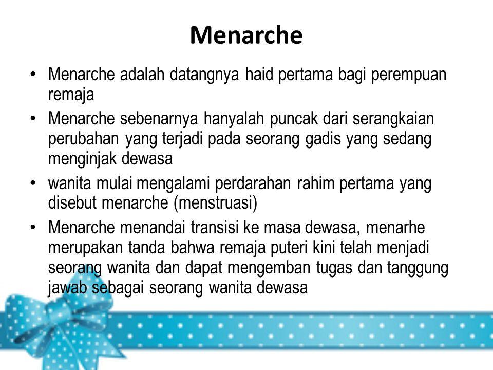 Menarche Menarche adalah datangnya haid pertama bagi perempuan remaja Menarche sebenarnya hanyalah puncak dari serangkaian perubahan yang terjadi pada