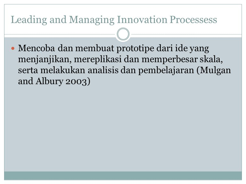 Innovation and Its Contribution to Improvement