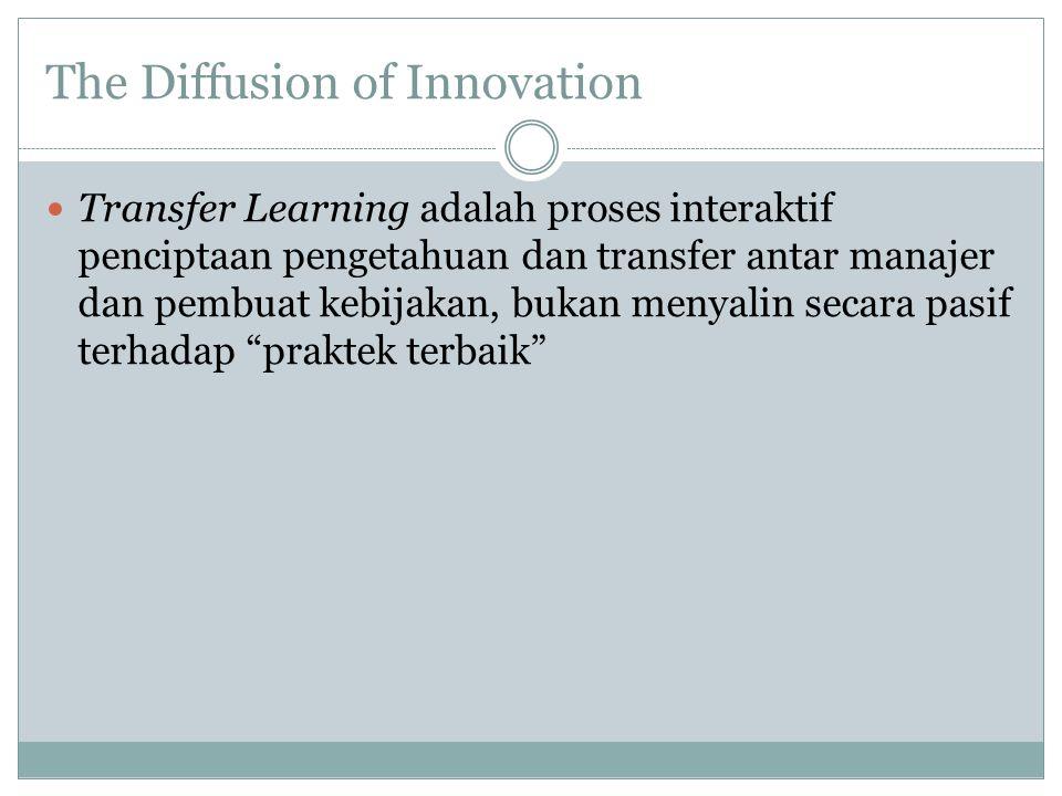 The Diffusion of Innovation Transfer Learning adalah proses interaktif penciptaan pengetahuan dan transfer antar manajer dan pembuat kebijakan, bukan menyalin secara pasif terhadap praktek terbaik