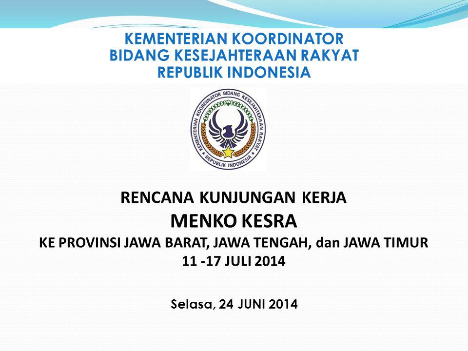 KEMENTERIAN KOORDINATOR BIDANG KESEJAHTERAAN RAKYAT REPUBLIK INDONESIA Selasa, 24 JUNI 2014 RENCANA KUNJUNGAN KERJA MENKO KESRA KE PROVINSI JAWA BARAT