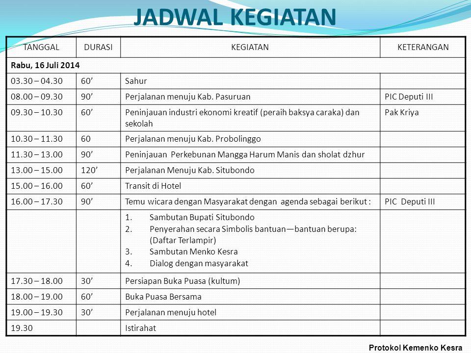 JADWAL KEGIATAN TANGGALDURASIKEGIATANKETERANGAN Rabu, 16 Juli 2014 03.30 – 04.3060'Sahur 08.00 – 09.3090'Perjalanan menuju Kab. PasuruanPIC Deputi III