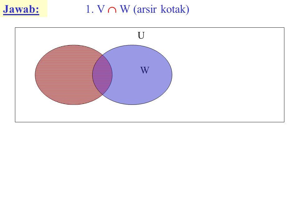Jawab: V W U 1. V  W (arsir kotak)