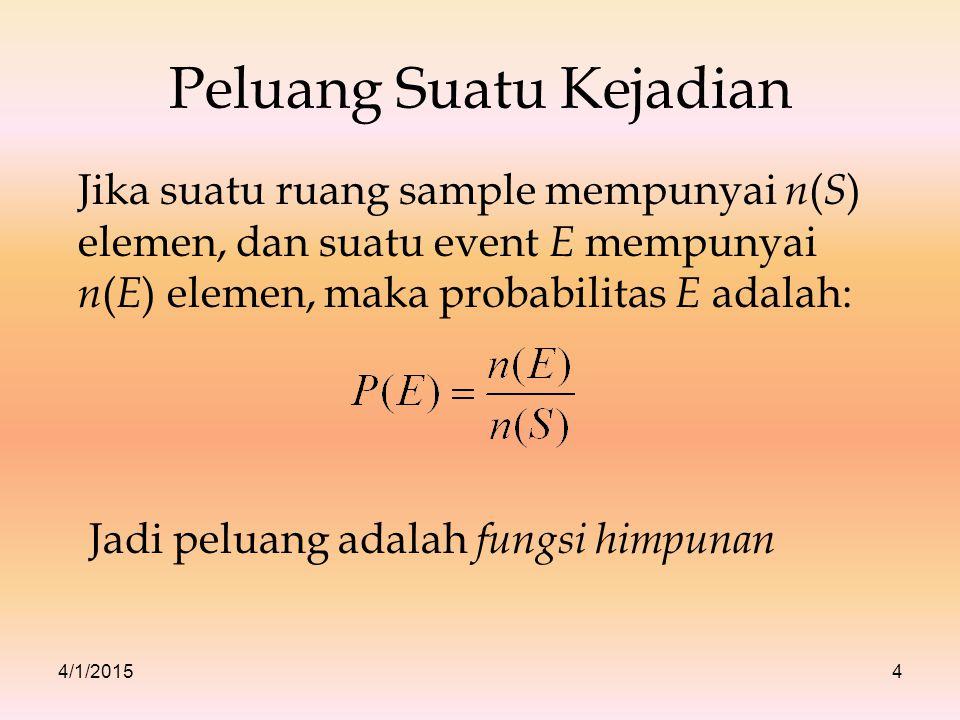 4/1/20154 Peluang Suatu Kejadian Jika suatu ruang sample mempunyai n ( S ) elemen, dan suatu event E mempunyai n ( E ) elemen, maka probabilitas E ada