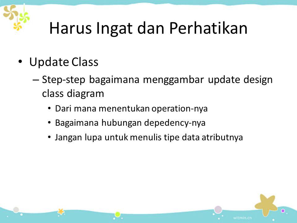 Harus Ingat dan Perhatikan Update Class – Step-step bagaimana menggambar update design class diagram Dari mana menentukan operation-nya Bagaimana hubungan depedency-nya Jangan lupa untuk menulis tipe data atributnya