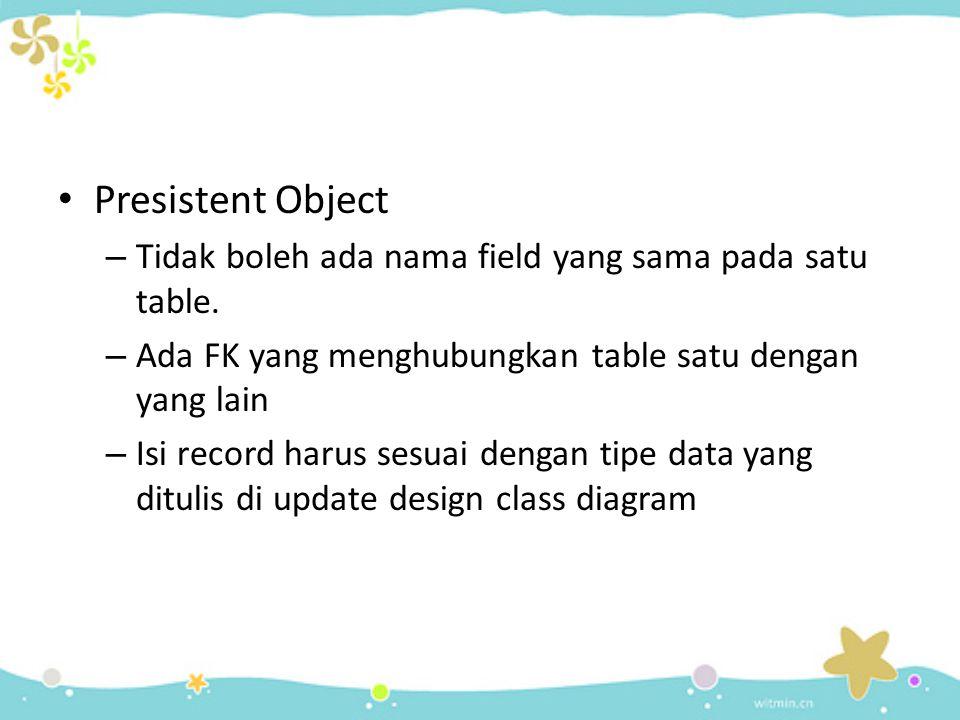 Presistent Object – Tidak boleh ada nama field yang sama pada satu table.