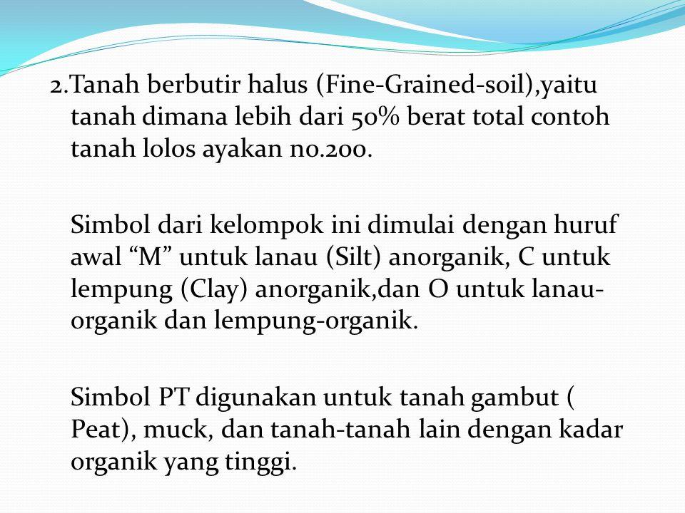2.Tanah berbutir halus (Fine-Grained-soil),yaitu tanah dimana lebih dari 50% berat total contoh tanah lolos ayakan no.200. Simbol dari kelompok ini di