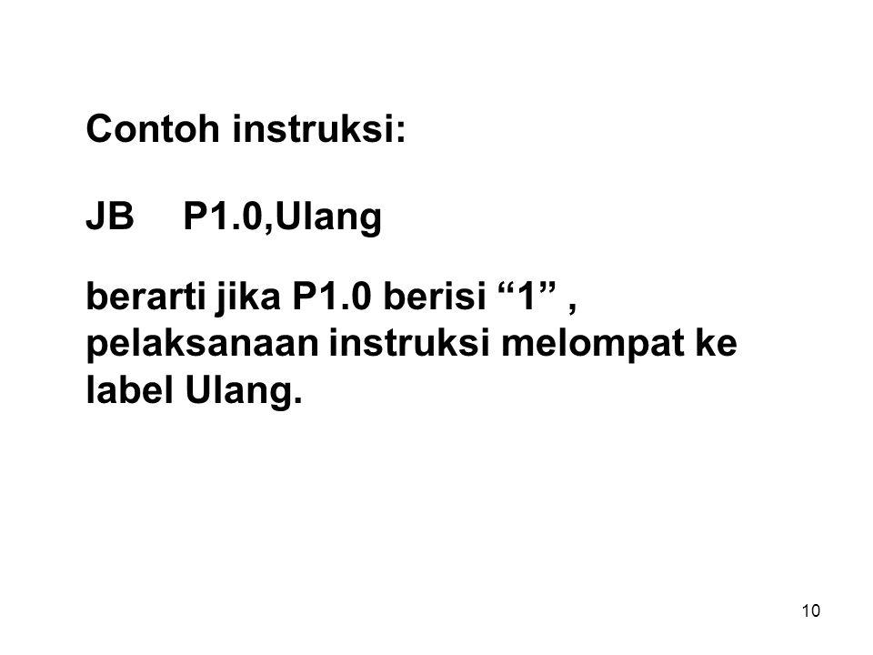 10 Contoh instruksi: JB P1.0,Ulang berarti jika P1.0 berisi 1 , pelaksanaan instruksi melompat ke label Ulang.