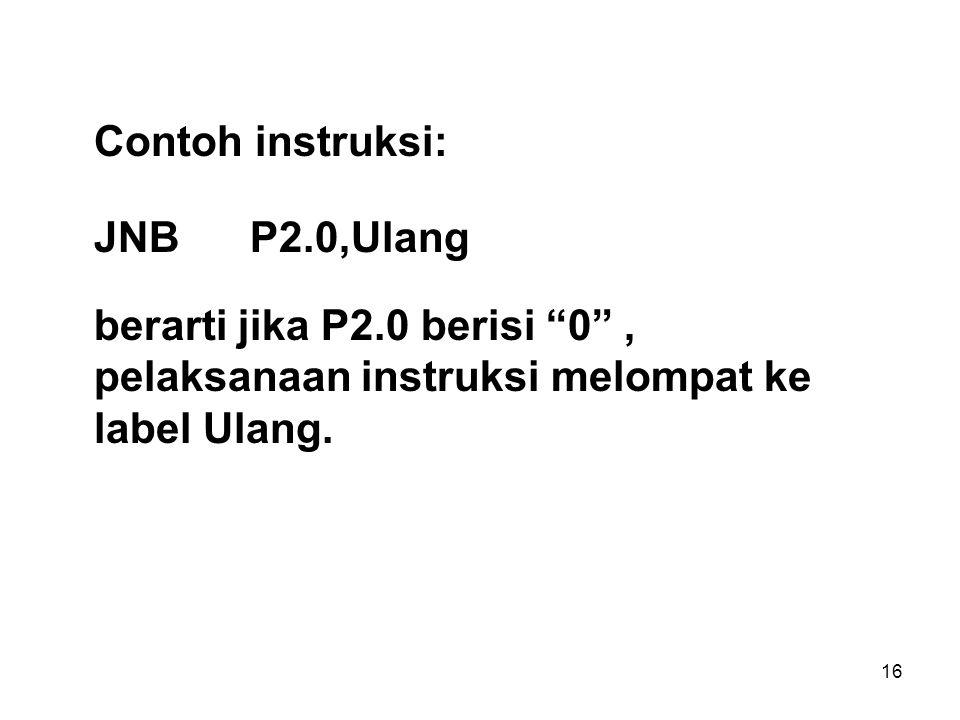 16 Contoh instruksi: JNBP2.0,Ulang berarti jika P2.0 berisi 0 , pelaksanaan instruksi melompat ke label Ulang.
