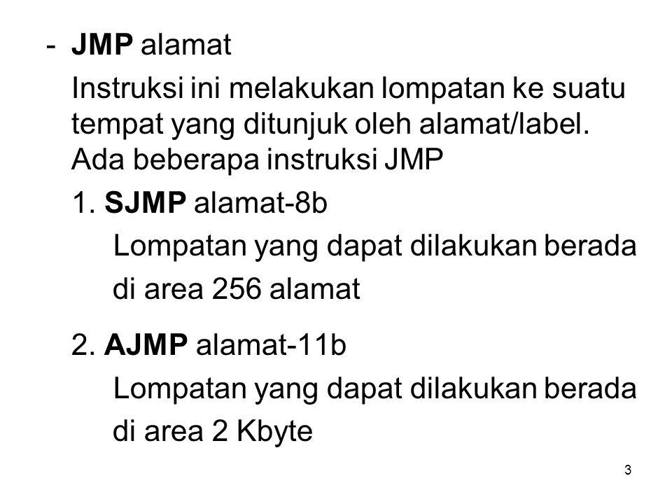 3 -JMP alamat Instruksi ini melakukan lompatan ke suatu tempat yang ditunjuk oleh alamat/label.