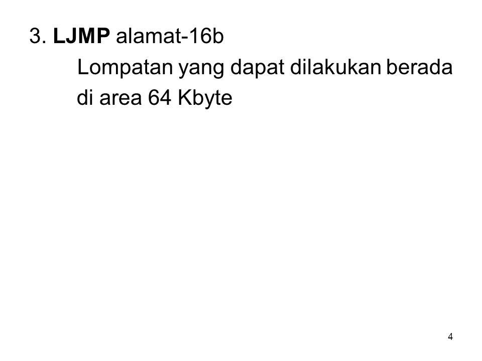 4 3. LJMP alamat-16b Lompatan yang dapat dilakukan berada di area 64 Kbyte