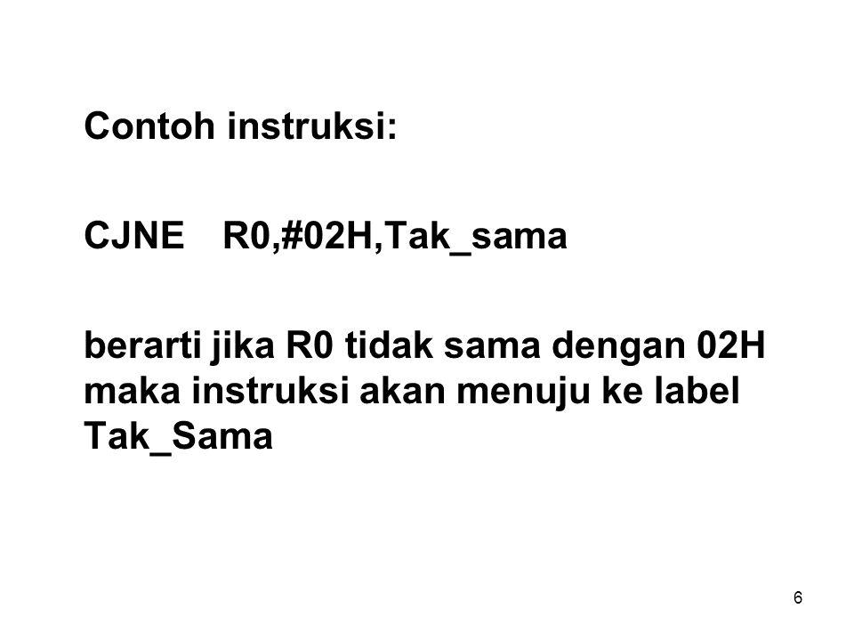 6 Contoh instruksi: CJNER0,#02H,Tak_sama berarti jika R0 tidak sama dengan 02H maka instruksi akan menuju ke label Tak_Sama