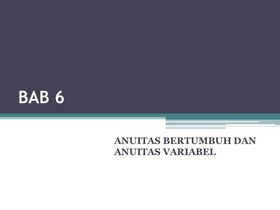 Anuitas Bertumbuh Bab 6 Matematika Keuangan Edisi 3 - 2010 2  Selama ini besar angsuran diasumsikan sama yaitu A atau PMT (dalam kalkulator finansial atau Excel).