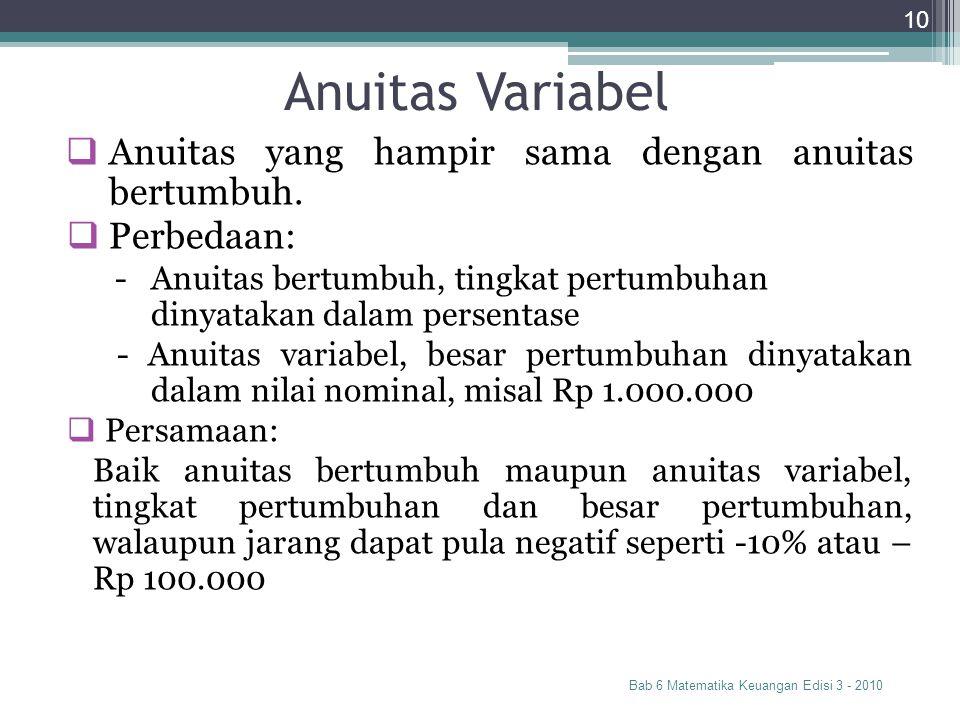 Anuitas Variabel Bab 6 Matematika Keuangan Edisi 3 - 2010 10  Anuitas yang hampir sama dengan anuitas bertumbuh.  Perbedaan: - Anuitas bertumbuh, ti