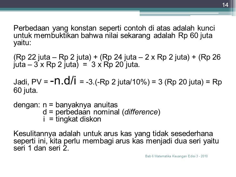 Bab 6 Matematika Keuangan Edisi 3 - 2010 14 Perbedaan yang konstan seperti contoh di atas adalah kunci untuk membuktikan bahwa nilai sekarang adalah R