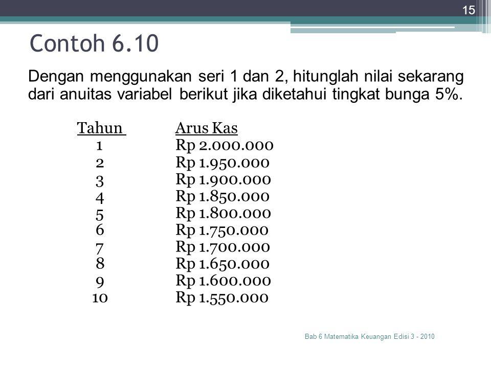 Contoh 6.10 Bab 6 Matematika Keuangan Edisi 3 - 2010 15 Dengan menggunakan seri 1 dan 2, hitunglah nilai sekarang dari anuitas variabel berikut jika d
