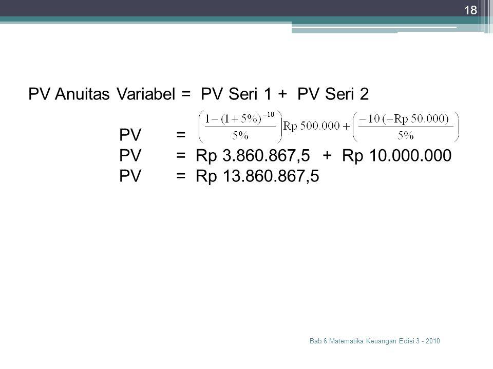 Bab 6 Matematika Keuangan Edisi 3 - 2010 18 PV Anuitas Variabel = PV Seri 1 + PV Seri 2 PV= PV= Rp 3.860.867,5 + Rp 10.000.000 PV= Rp 13.860.867,5