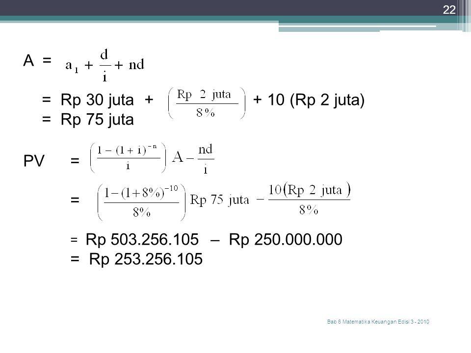Bab 6 Matematika Keuangan Edisi 3 - 2010 22 A = = Rp 30 juta + + 10 (Rp 2 juta) = Rp 75 juta PV= = = Rp 503.256.105 – Rp 250.000.000 = Rp 253.256.105