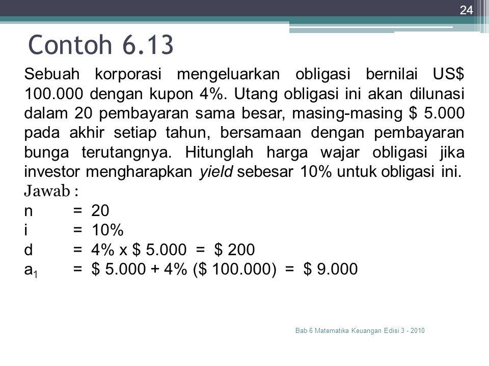 Contoh 6.13 Bab 6 Matematika Keuangan Edisi 3 - 2010 24 Sebuah korporasi mengeluarkan obligasi bernilai US$ 100.000 dengan kupon 4%. Utang obligasi in