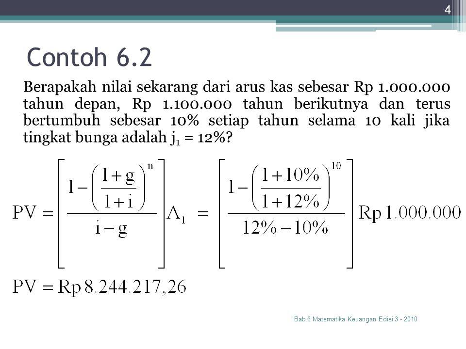 Perpetuitas Bertumbuh Bab 6 Matematika Keuangan Edisi 3 - 2010 5 dengan i > g, dan A 0 adalah arus kas hari ini A 1 adalah arus kas satu periode berikutnya i adalah tingkat bunga diskonto gadalah tingkat pertumbuhan