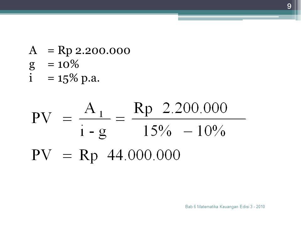 Bab 6 Matematika Keuangan Edisi 3 - 2010 9 A= Rp 2.200.000 g= 10% i= 15% p.a.