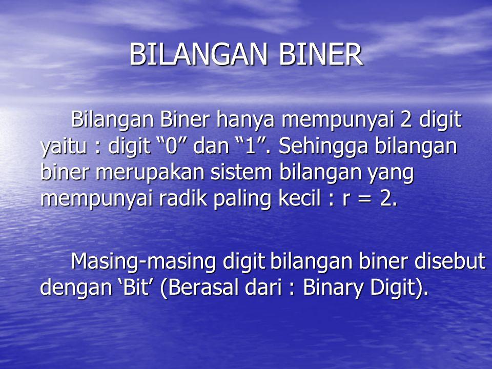 """BILANGAN BINER Bilangan Biner hanya mempunyai 2 digit yaitu : digit """"0"""" dan """"1"""". Sehingga bilangan biner merupakan sistem bilangan yang mempunyai radi"""