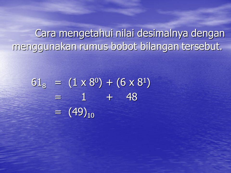 Cara mengetahui nilai desimalnya dengan menggunakan rumus bobot bilangan tersebut. 61 8 = (1 x 8 0 ) + (6 x 8 1 ) 61 8 = (1 x 8 0 ) + (6 x 8 1 ) = 1 +