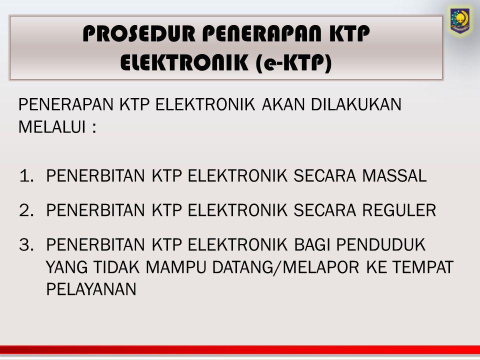 1.PENERBITAN KTP ELEKTRONIK SECARA MASSAL 2.PENERBITAN KTP ELEKTRONIK SECARA REGULER 3.PENERBITAN KTP ELEKTRONIK BAGI PENDUDUK YANG TIDAK MAMPU DATANG