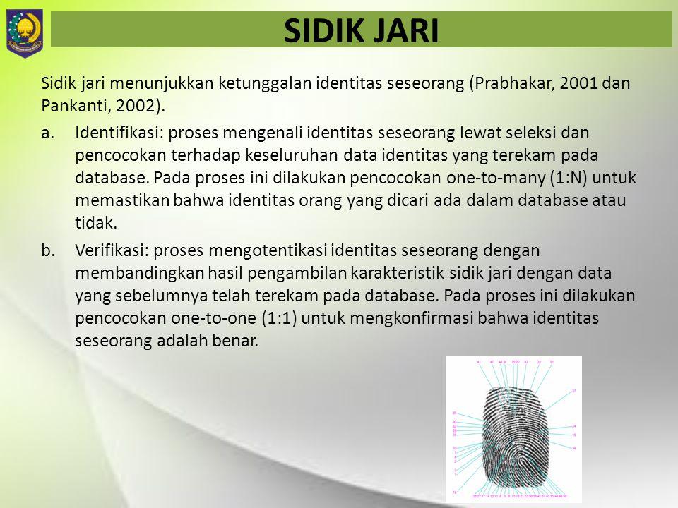 SIDIK JARI Sidik jari menunjukkan ketunggalan identitas seseorang (Prabhakar, 2001 dan Pankanti, 2002). a.Identifikasi: proses mengenali identitas ses