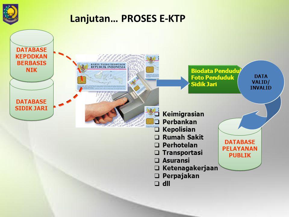 Lanjutan… PROSES E-KTP DATABASE PELAYANAN PUBLIK DATABASE PELAYANAN PUBLIK  Keimigrasian  Perbankan  Kepolisian  Rumah Sakit  Perhotelan  Transp