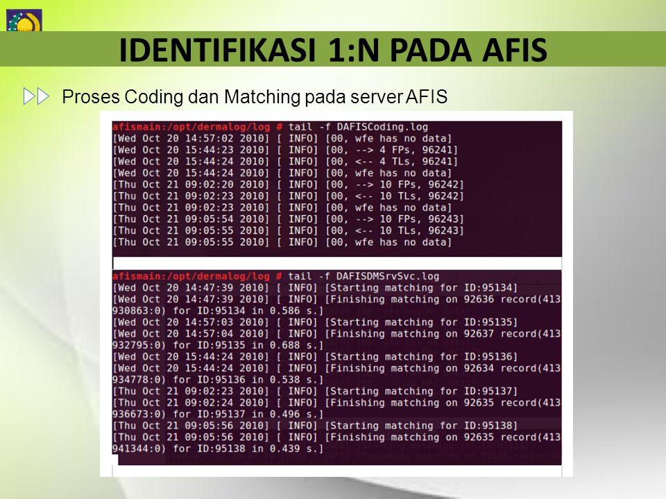 IDENTIFIKASI 1:N PADA AFIS Proses Coding dan Matching pada server AFIS