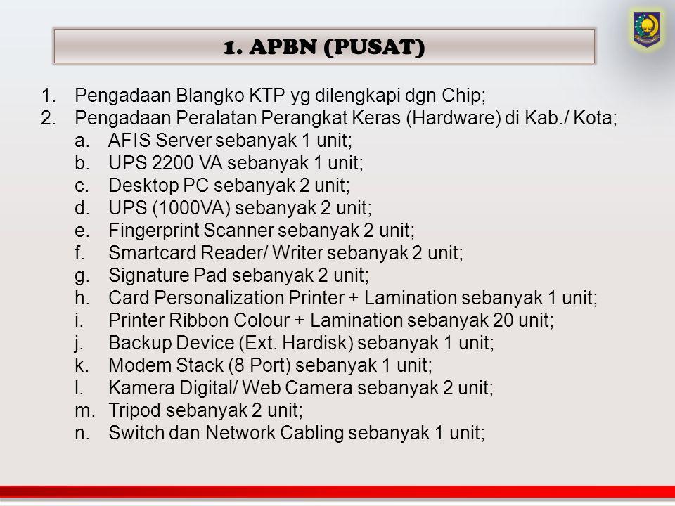 1. APBN (PUSAT) 1.Pengadaan Blangko KTP yg dilengkapi dgn Chip; 2.Pengadaan Peralatan Perangkat Keras (Hardware) di Kab./ Kota; a.AFIS Server sebanyak