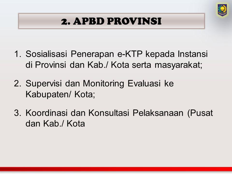 2. APBD PROVINSI 1.Sosialisasi Penerapan e-KTP kepada Instansi di Provinsi dan Kab./ Kota serta masyarakat; 2.Supervisi dan Monitoring Evaluasi ke Kab