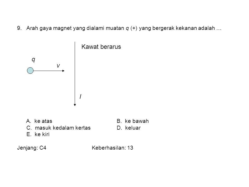 9.Arah gaya magnet yang dialami muatan q (+) yang bergerak kekanan adalah … A. ke atasB. ke bawah C. masuk kedalam kertasD. keluar E. ke kiri Jenjang: