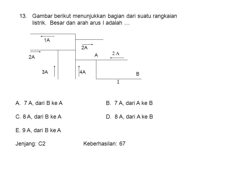 2 A I 1A 2A 3A4A 2A A B 13. Gambar berikut menunjukkan bagian dari suatu rangkaian listrik. Besar dan arah arus I adalah … A.7 A, dari B ke AB. 7 A, d
