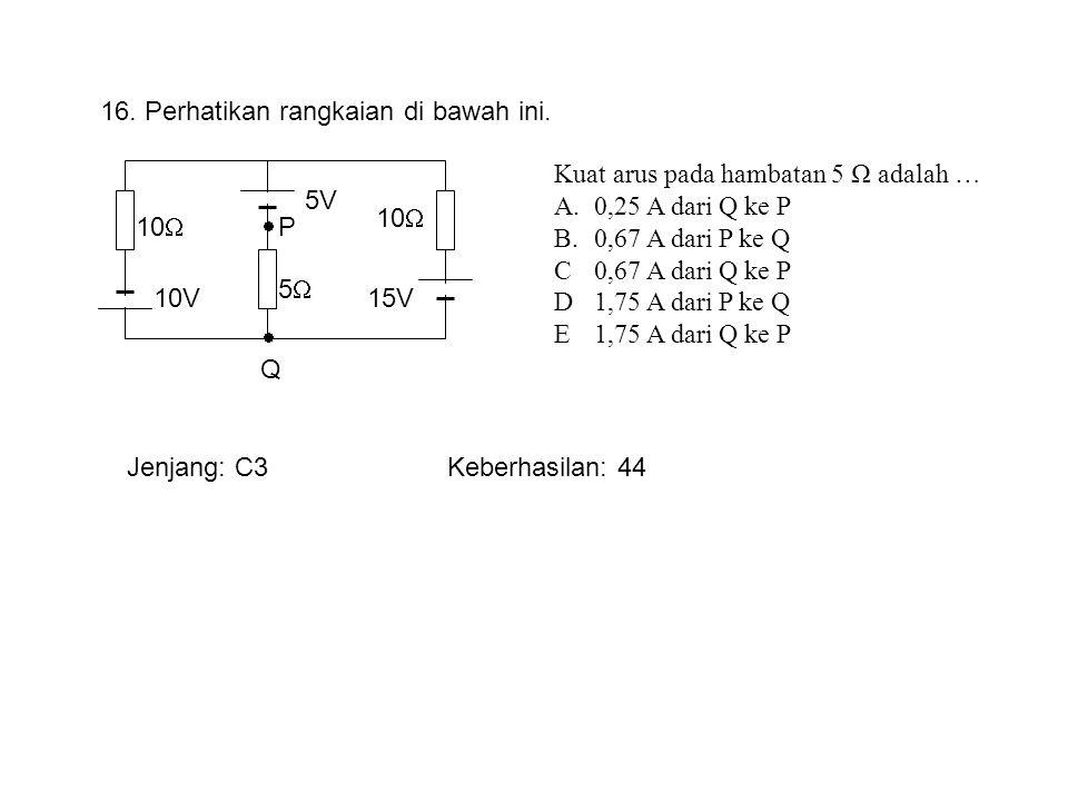 10V 5V 15V 10  55 16. Perhatikan rangkaian di bawah ini. Kuat arus pada hambatan 5 Ω adalah … A.0,25 A dari Q ke P B.0,67 A dari P ke Q C0,67 A dar
