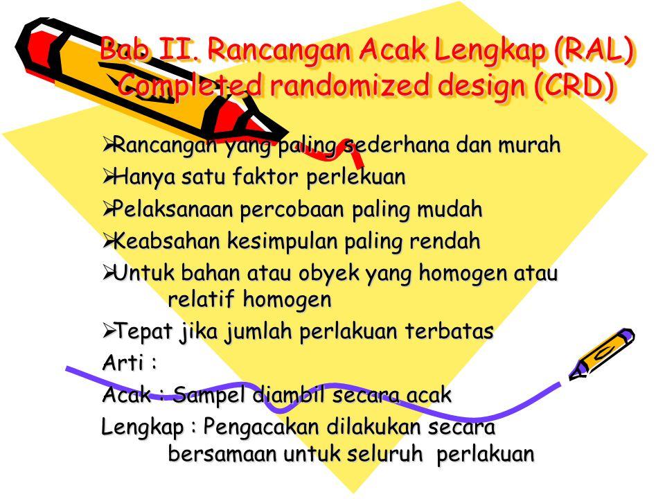 Bab II. Rancangan Acak Lengkap (RAL) Completed randomized design (CRD)  Rancangan yang paling sederhana dan murah  Hanya satu faktor perlekuan  Pel
