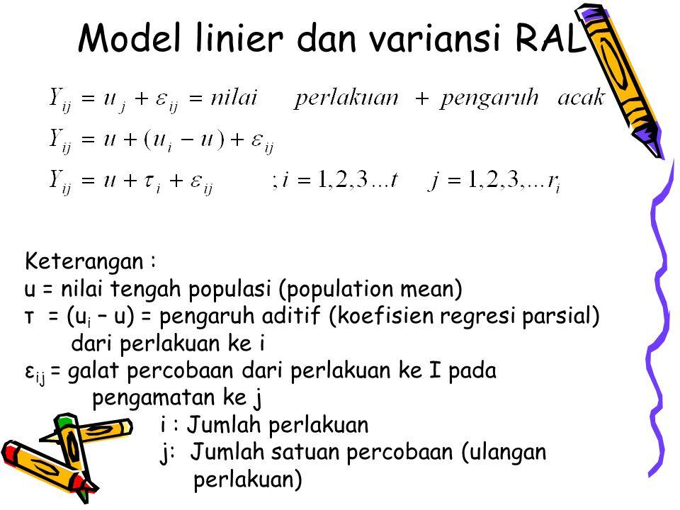 Model linier dan variansi RAL Keterangan : u = nilai tengah populasi (population mean) τ = (u i – u) = pengaruh aditif (koefisien regresi parsial) dar