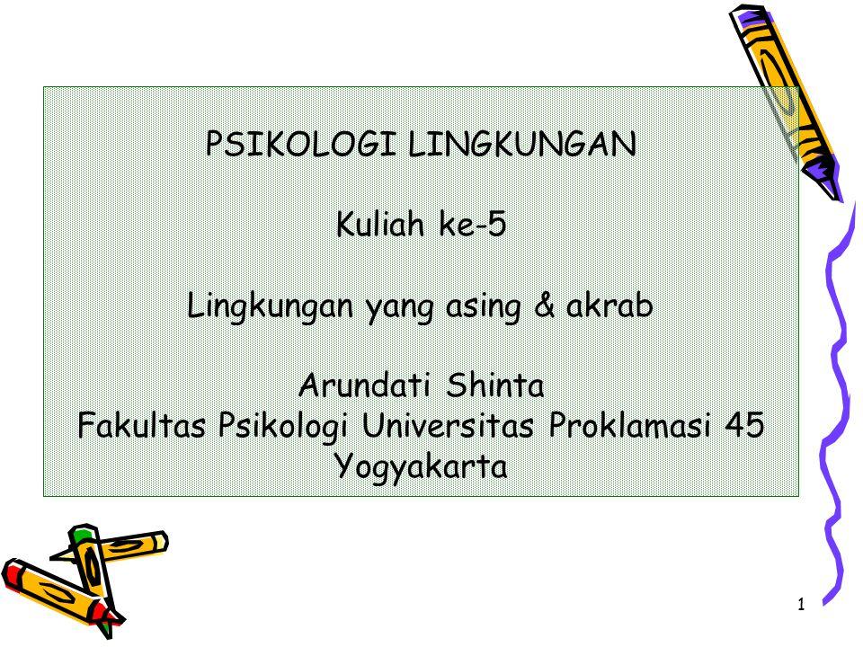 1 PSIKOLOGI LINGKUNGAN Kuliah ke-5 Lingkungan yang asing & akrab Arundati Shinta Fakultas Psikologi Universitas Proklamasi 45 Yogyakarta
