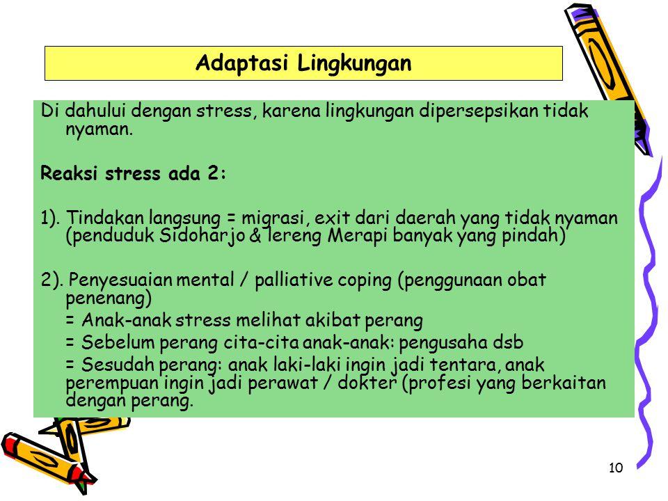10 Di dahului dengan stress, karena lingkungan dipersepsikan tidak nyaman.