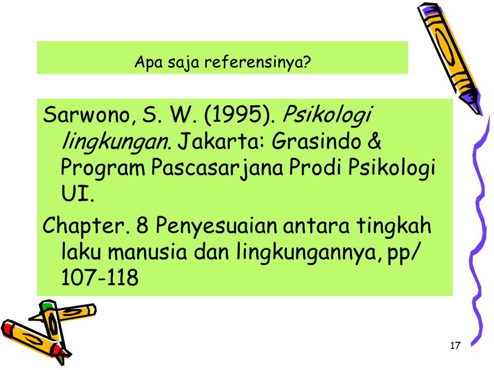 17 Apa saja referensinya.Sarwono, S. W. (1995). Psikologi lingkungan.