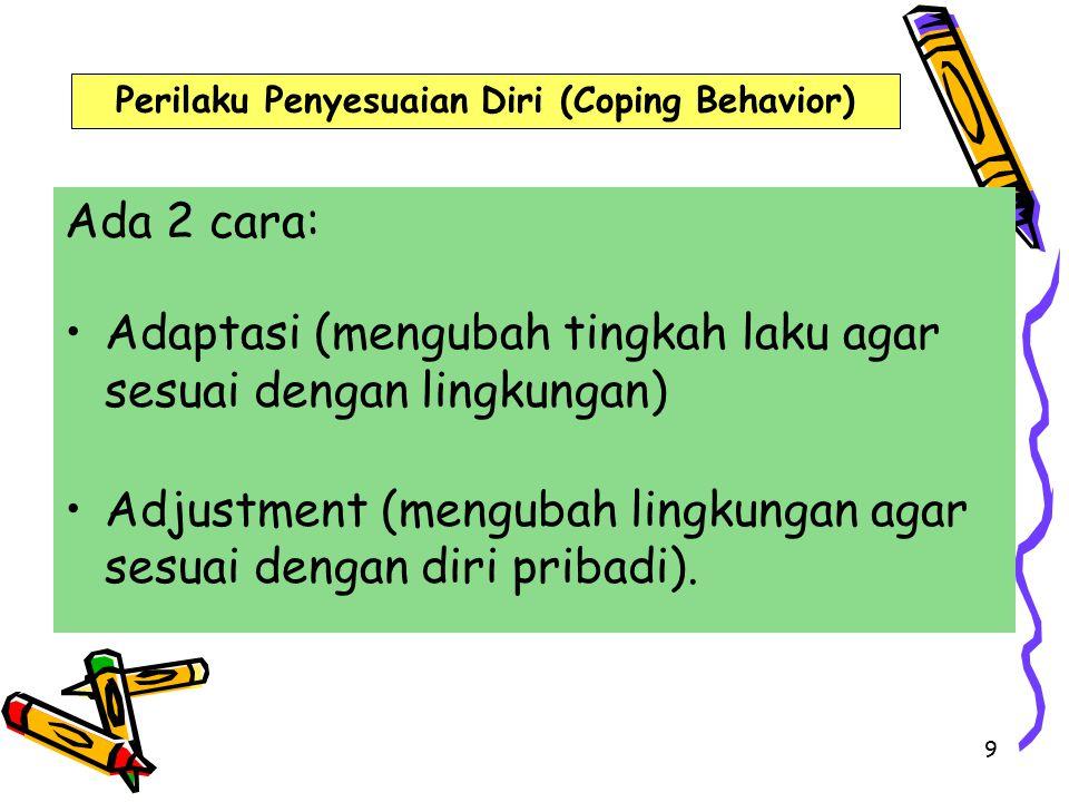 9 Ada 2 cara: Adaptasi (mengubah tingkah laku agar sesuai dengan lingkungan) Adjustment (mengubah lingkungan agar sesuai dengan diri pribadi).
