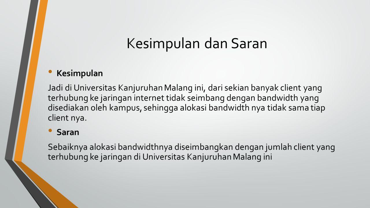 Kesimpulan dan Saran Kesimpulan Jadi di Universitas Kanjuruhan Malang ini, dari sekian banyak client yang terhubung ke jaringan internet tidak seimban