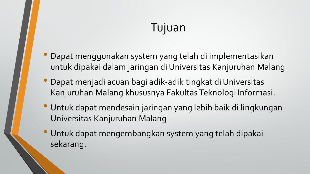 Tujuan Dapat menggunakan system yang telah di implementasikan untuk dipakai dalam jaringan di Universitas Kanjuruhan Malang Dapat menjadi acuan bagi a