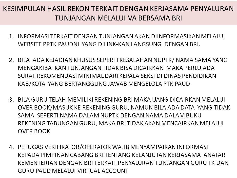 Kesepakatan Kegiatan Rekosilasi Data PPTK PAUDNI Tahap 2 Tgl.