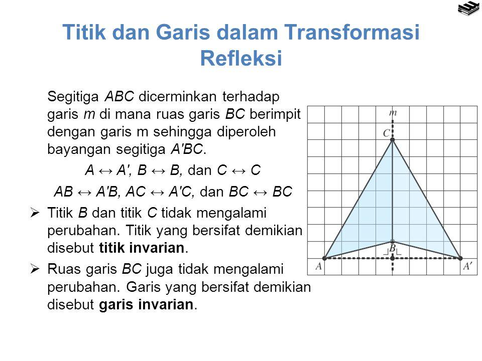 Titik dan Garis dalam Transformasi Refleksi Segitiga ABC dicerminkan terhadap garis m di mana ruas garis BC berimpit dengan garis m sehingga diperoleh