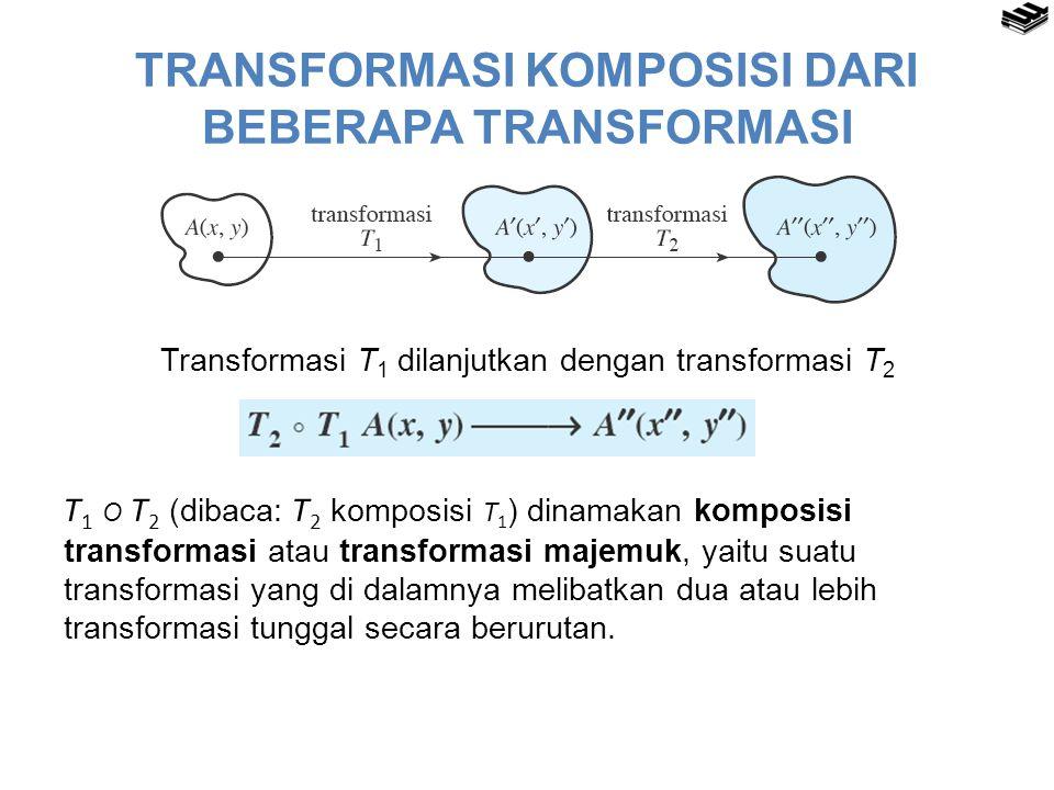 TRANSFORMASI KOMPOSISI DARI BEBERAPA TRANSFORMASI Transformasi T 1 dilanjutkan dengan transformasi T 2 T 1 O T 2 (dibaca: T 2 komposisi T 1 ) dinamaka