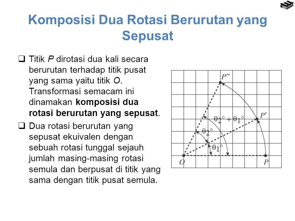 Komposisi Dua Rotasi Berurutan yang Sepusat  Titik P dirotasi dua kali secara berurutan terhadap titik pusat yang sama yaitu titik O. Transformasi se